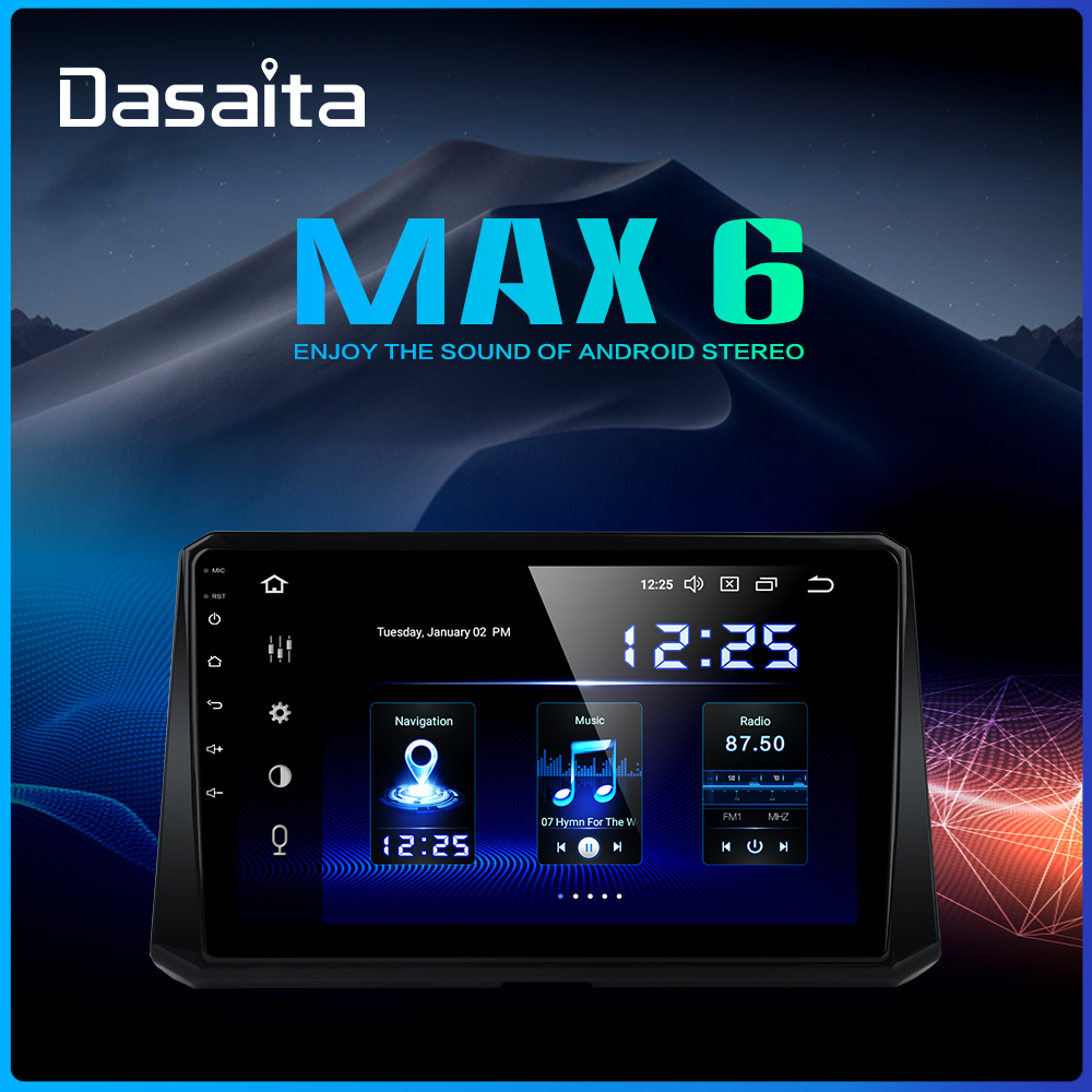 Dasaita 1 Din 10.2 IPS Android 9.0 Car Radio for Toyota Corolla 2019 Car Stereo DSP Bluetooth GPS 4GB RAM MAX6 image