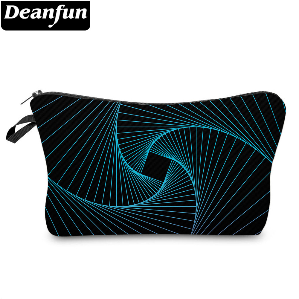 Deanfun Cosmetic Bags 3D Printed Blue Striped Bags Zipper Womens Toiletry Bags 51957