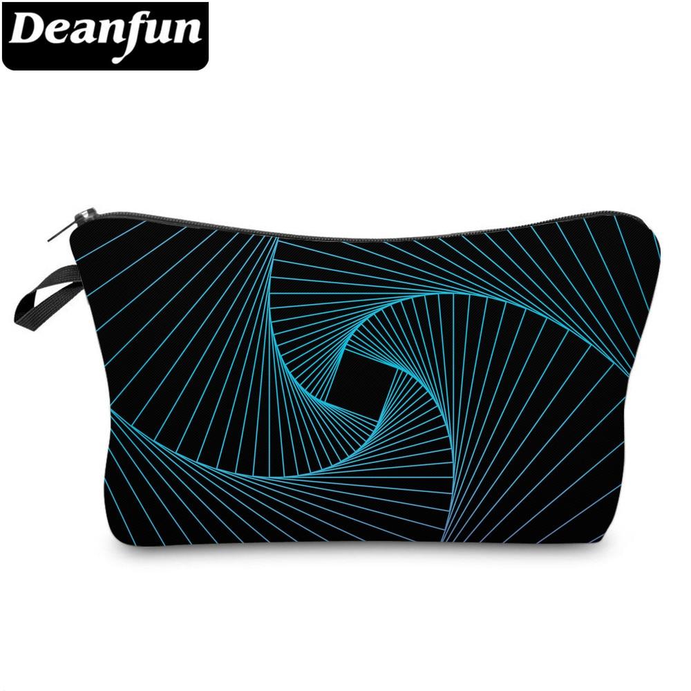 Deanfun Cosmetic Bags 3D Printed Blue Striped Bags Zipper Womens Toiletry Bags 51957
