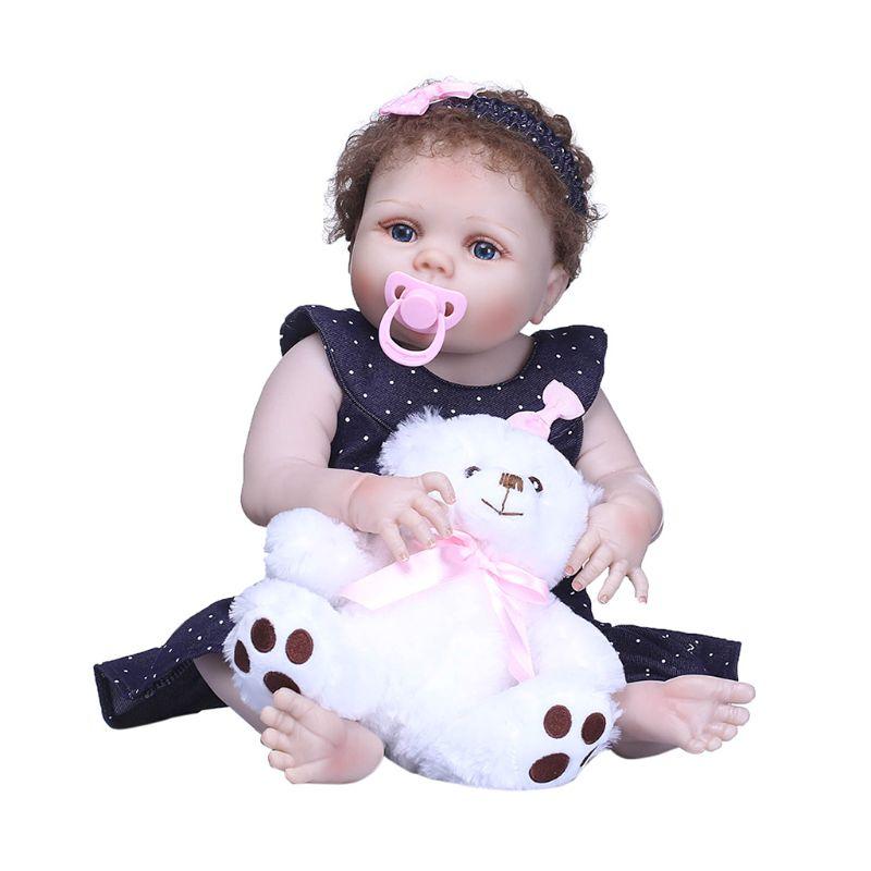 22 pouces pleine Silicone réaliste poupée à pois jupe arc bandeau blanc ours petite enfance enfants bébé jouet