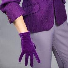 Female Velvet Short Gloves 22cm Noble Deep Purple Models High Elastic Velvet Gold Velvet Touch Screen Function 5-SRZS22 purple velvet