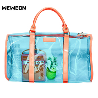Laser PVC Transparent Sport Bag for Women Reflective Gym Fitness Bags Lady Stylish Handbag Travel tote Street/Campus Bags