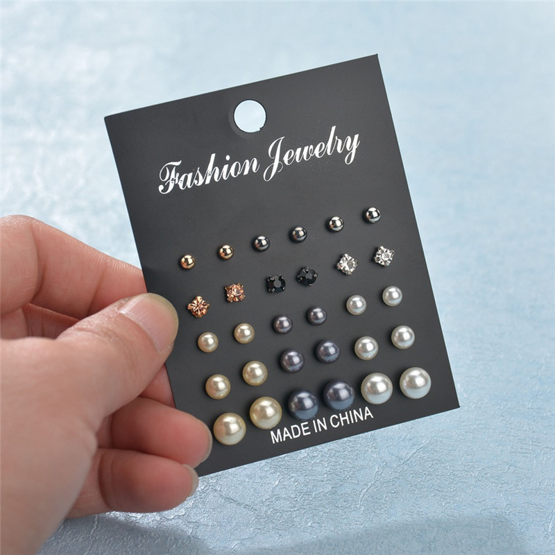 ZORCVENS 15 Pairs/Set Simulated Pearl Earrings For Women Bijoux Fashion Silver Gold Color Crystal Stud Jewelry Gift