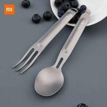 Xiaomi Netool cuchara de tenedor de titanio para exteriores, antibacteriana, no tóxica, duradera, antióxido, ligera, resistente, caja de almacenamiento portátil