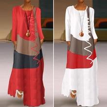 ZANZEA 2021 Womens Autumn Sundress Stitching Maxi Dress Casual Long Sleeve Tunic Vestidos Female Cotton Linen Robe Plus Size