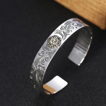 Men Bangle 100% 925 sterling silver Pattern Sunflower Opening bracelet bangle Thai silver luxury Brand Bracelet jewelry Gifts