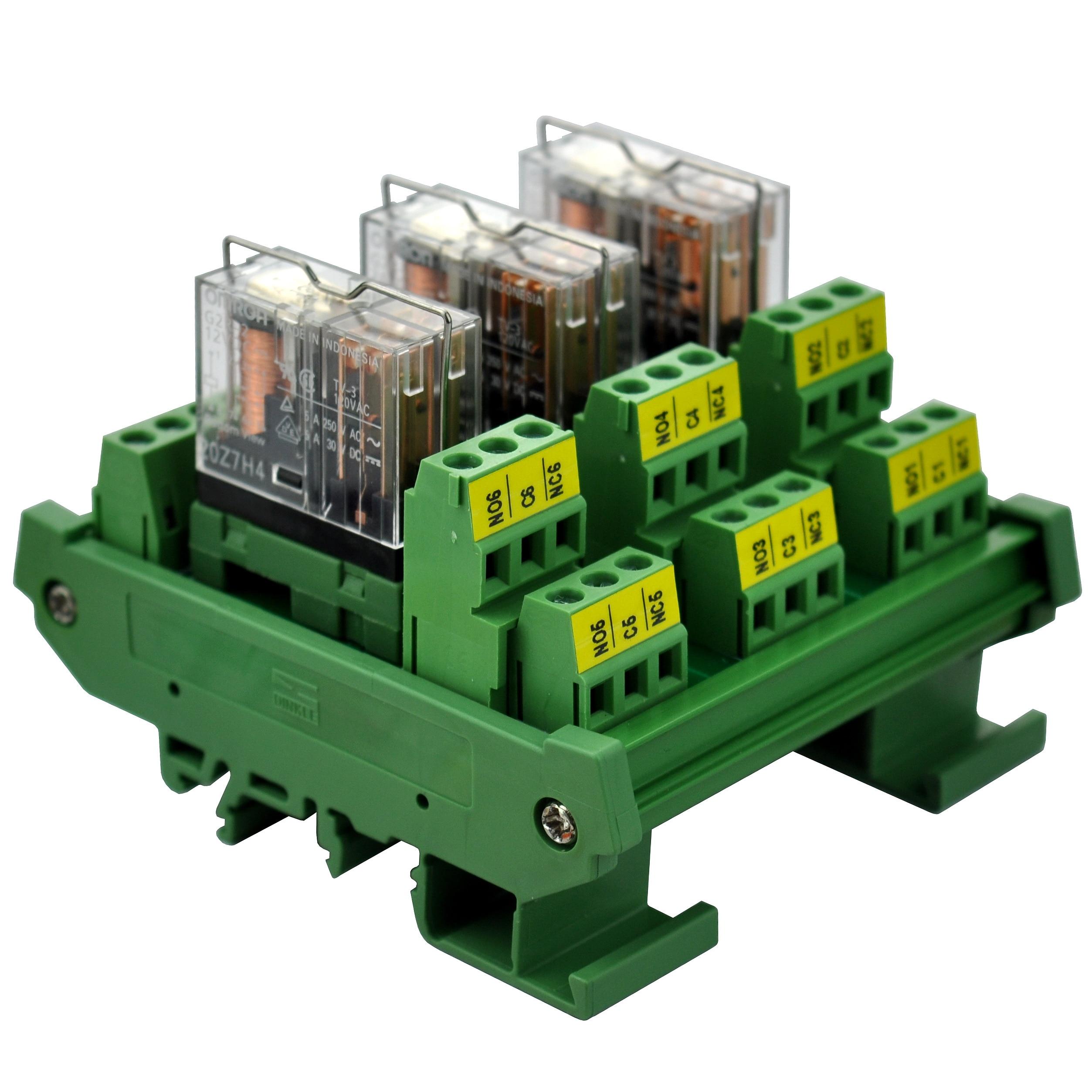 Электроника-салон DIN рейку крепление AC/DC 12V управления 3 DPDT 5Amp Подключаемый модуль интерфейса реле питания