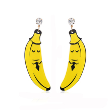 NJ Unique Special Design Banana Yellow Drop Earrings For Woman Personality Fashion Pierce Hanging Gift