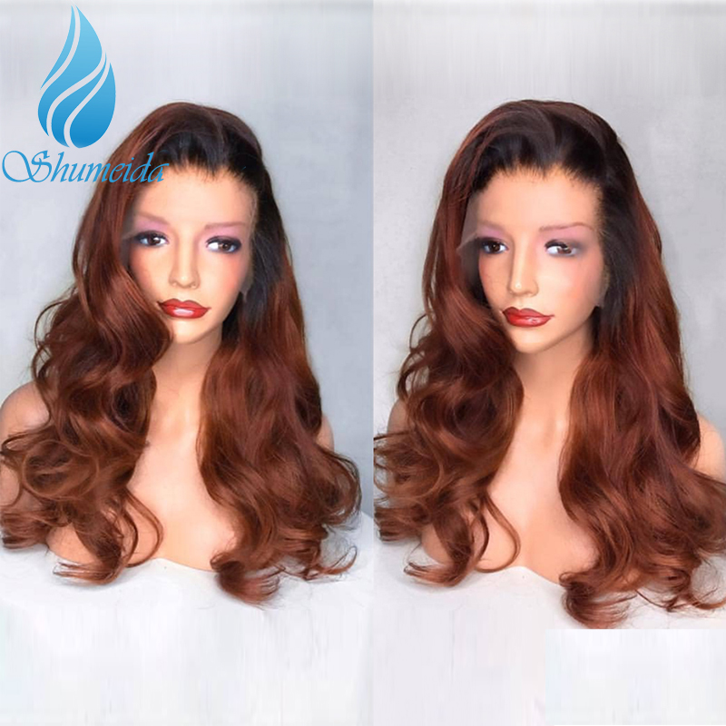 SHD Ombre Color Lace Front Wigs with Baby Hair Glueless 13*4 Lace Frontal Wigs 150% Density Malaysian Remy Human Hair Wigs image