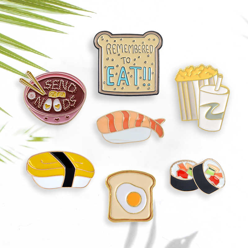 Cartoon Pins Japanse Sushi Noedels Toast Brood Popcorn En Cola Broches Pins Groothandel Emaille Badges Revers Pin Voor Kids