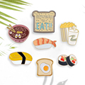 Cartoon Pins Japanese Sushi Noodles Toast Bread Popcorn and Cola Brooches Pins Wholesale Enamel Badges Lapel Pin For Kids