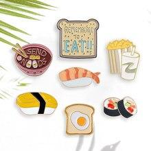 Épingles de dessin animé japonais Sushi nouilles pain grillé pop-corn et Cola broches broches en gros émail Badges épinglette pour les enfants