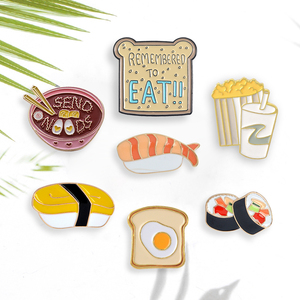 Мультфильм контакты для японских суши Лапша тостов Попкорн с колой, броши на булавке, оптовая продажа эмалированный Нагрудный значок булав...