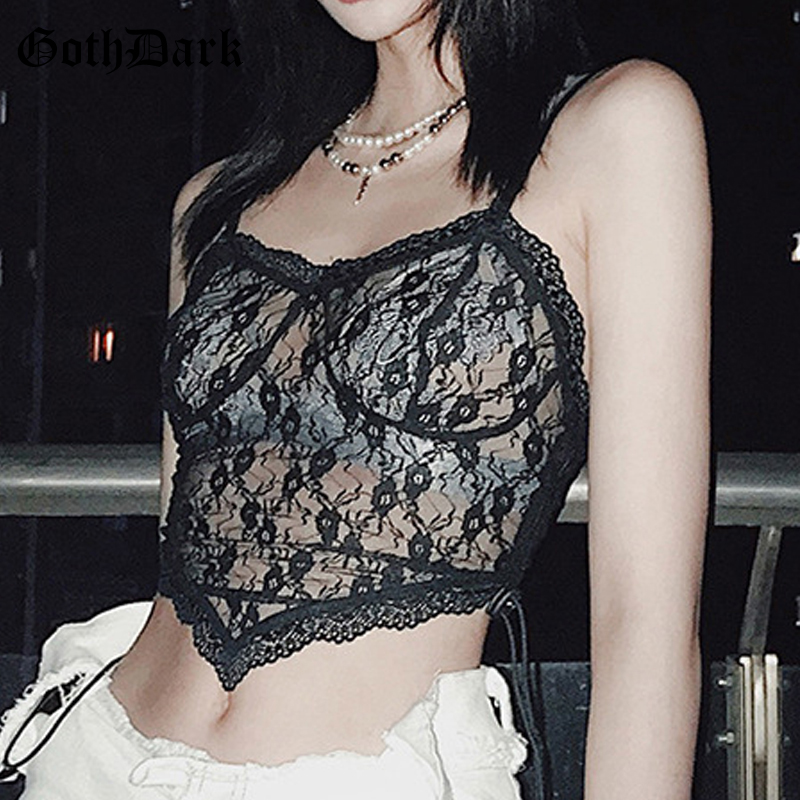 Goth Dark Sexy Gothic And Black Women Tank Top 2020 Y2k Mesh Bandage E-Girl Floral Lace Transparant Female Camis Summer Crop Top(China)