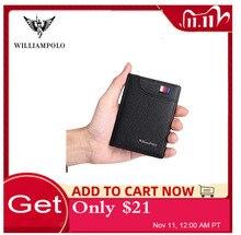 WILLIAMPOLO portefeuilles en cuir véritable pour hommes, poche frontale, porte carte à crédit, en cuir de vache, nouveau Design