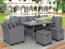 6 кусок ротанг открытый мебель набор плетение патио набор мебель сад задний двор диван дом мебель