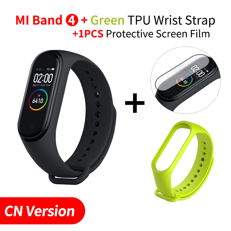 Xiaomi mi Band 4 Smart mi band 3 Цвета экран Браслет фитнес-трекер для измерения сердечного ритма Bluetooth 5,0 водонепроницаемый банда4 - Цвет: Add Green Strap