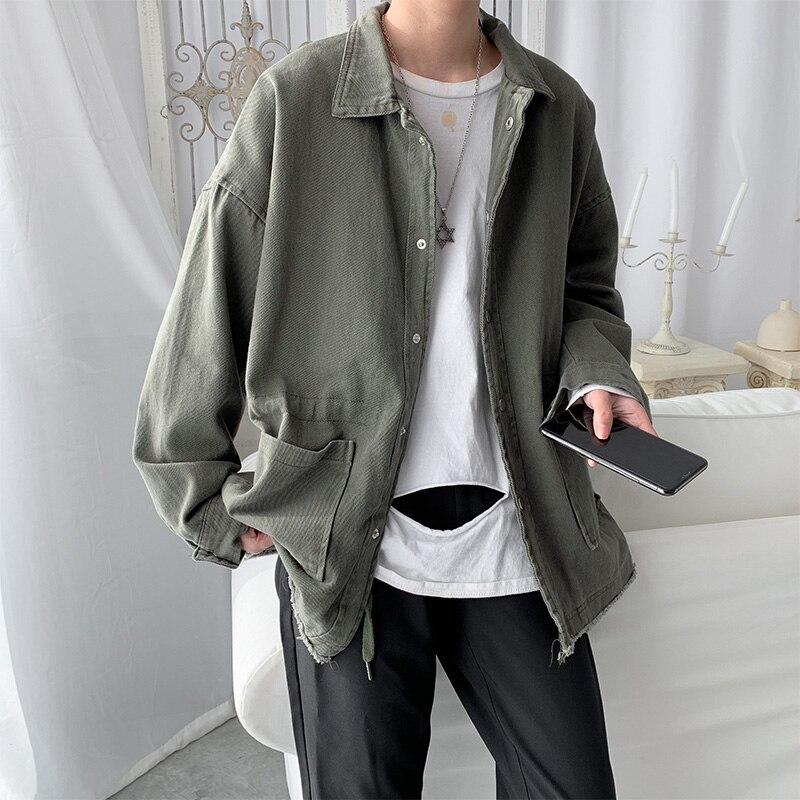 Spring Thin Cotton Jacket Men's Fashion Solid Color Pocket Tooling Jacket Men Streetwear Loose Hip Hop Bomber Jacket Men M-2XL