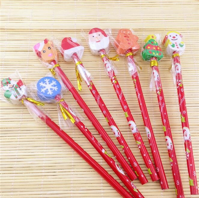 30pcs/lot New Sweet Red Rod Christmas Pencil Ten Design To Choose Colored Pencils For Children Drawing School Supplies