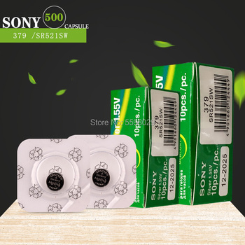 500PCS FOR SONY Single grain packing Watch Battery 1.55V 379 SR521SW D379 SR63 V379 AG0 Silver oxide Button Coin Cell Batteries