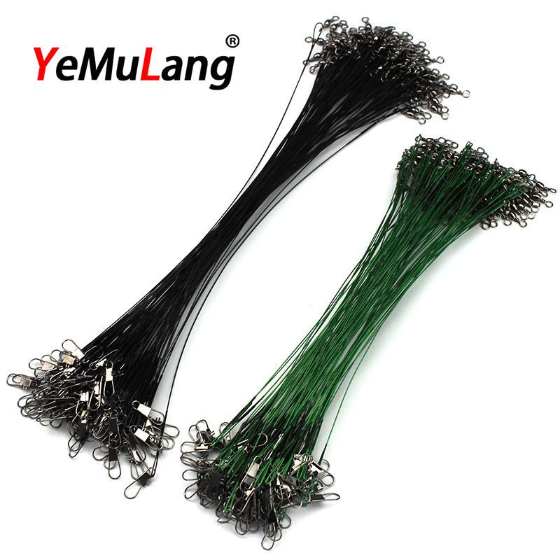 10pcs/lot Steel Wire Fishing Lines Leader Fishing Wire With Swivel Fishing Connectors Everything For Fishing Tackle 15-30cm