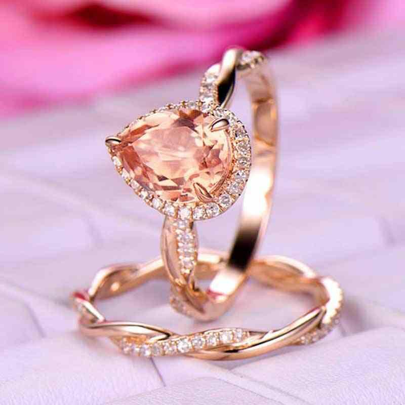 الأزياء الإناث قطرة الماء حلقة مجموعة فاخرة روز الذهب اللون الزفاف خاتم الزواج فريد نمط كبيرة الشمبانيا الحجر الدائري
