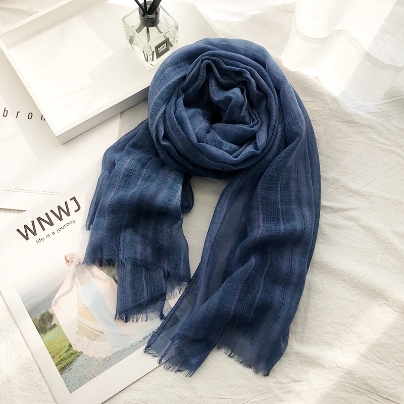 Men Winter Scarf Warm Softs Cotton Scarves Formal Business Male Plaid Wool Scarf 19032Cm