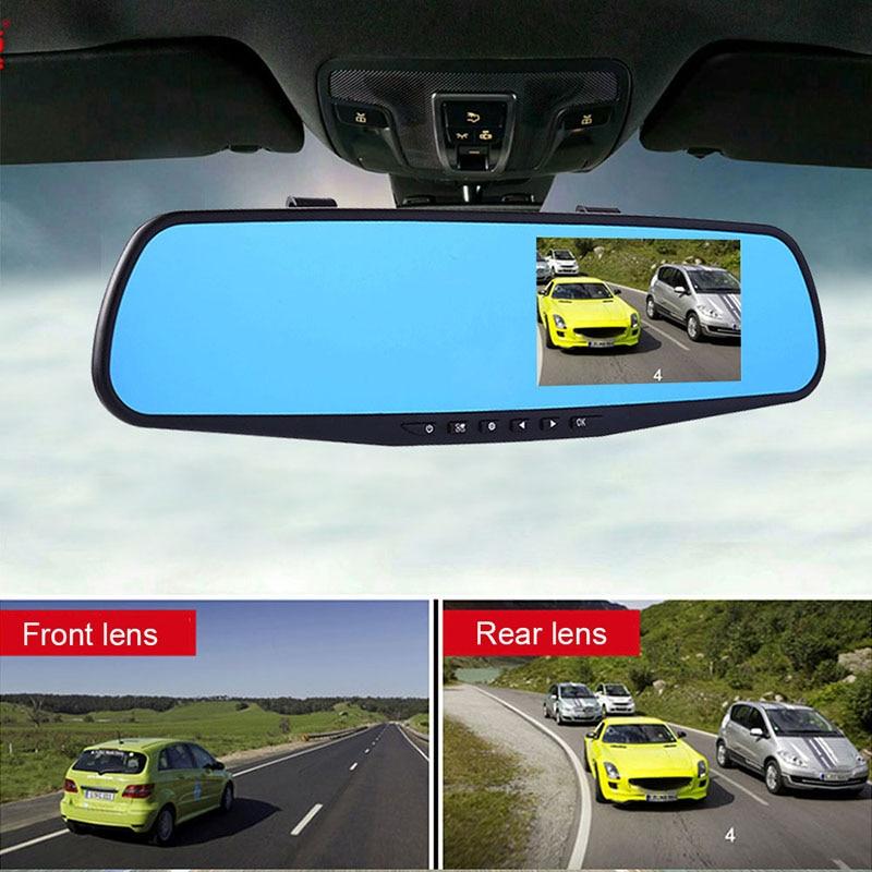 Camera 4.3/'/' 1080P Dual Lens Car Auto DVR Mirror Night Vision Dash Cam Recorder