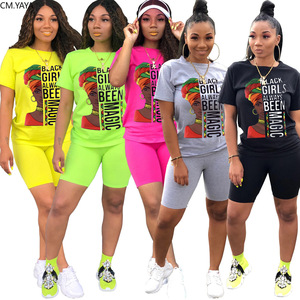 CM.YAYA Sport Women Black Girl Always Magic Two Piece Set Tee Tops Knee Length Jogger Pants Suit Tracksuit Matching Set Outfit