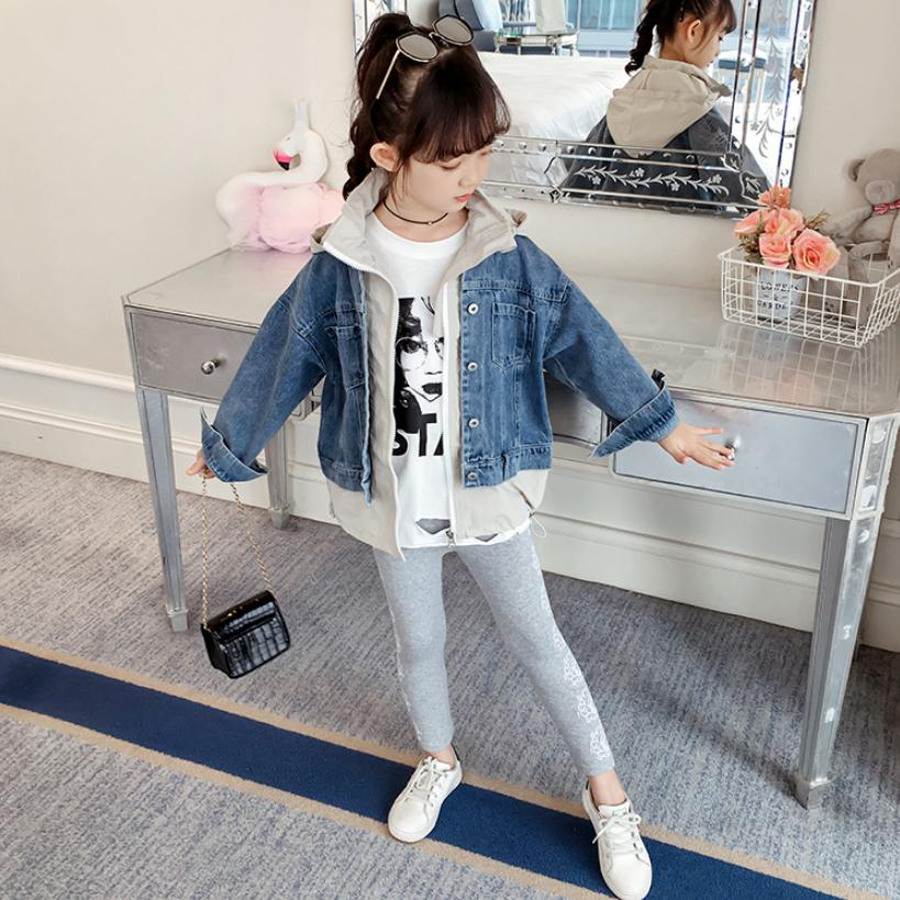 <font><b>Children's</b></font> <font><b>BF</b></font> Denim Jacket Fashion Harajuku Fake two-pieces casual Jean Coat Jacket Modis Kids Clothes Outerwear Y1864 image