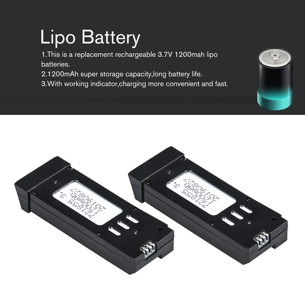 2Pcs/1Pcs 3.7V 1200mAh Lipo Battery For E58 JY019 RC Drone Helicopter Spare Parts Replace Rechargeable Batteries Black
