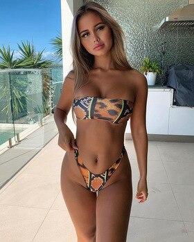@Womens snakeskin leopard elements bra split swimsuit high waist bikini v-pants green sexy womens Beach Wear