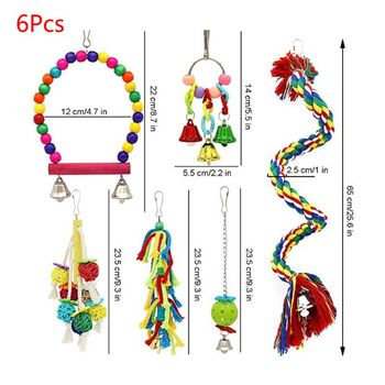 6 Pcs/set Pet Birds Swing Toys Parrots Chewing Hanging Perches Bells Small Parakeets Parrot Cage Bite Climbing Rope Toy 2