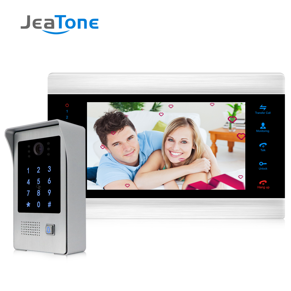 7 Inch Wired Video Door Phone Intercom Home Access Control System With Waterproof Outdoor IR Camera Support Password/RFID Card