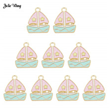 Julie Wang 10pcs Fashion Alloy Enamel Sailing Boat Charms Pink For Women Bracelet Earrings Pendant DIY Accessory 19*16mm