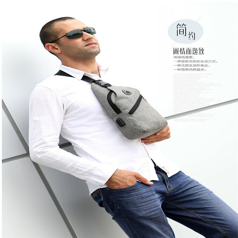Men's Waist Bags Casual Chest Packs Sling Should Bag Canvas USB Charging Sports Crossbody Bags For Men 2020 Chest Bag Waist Pack