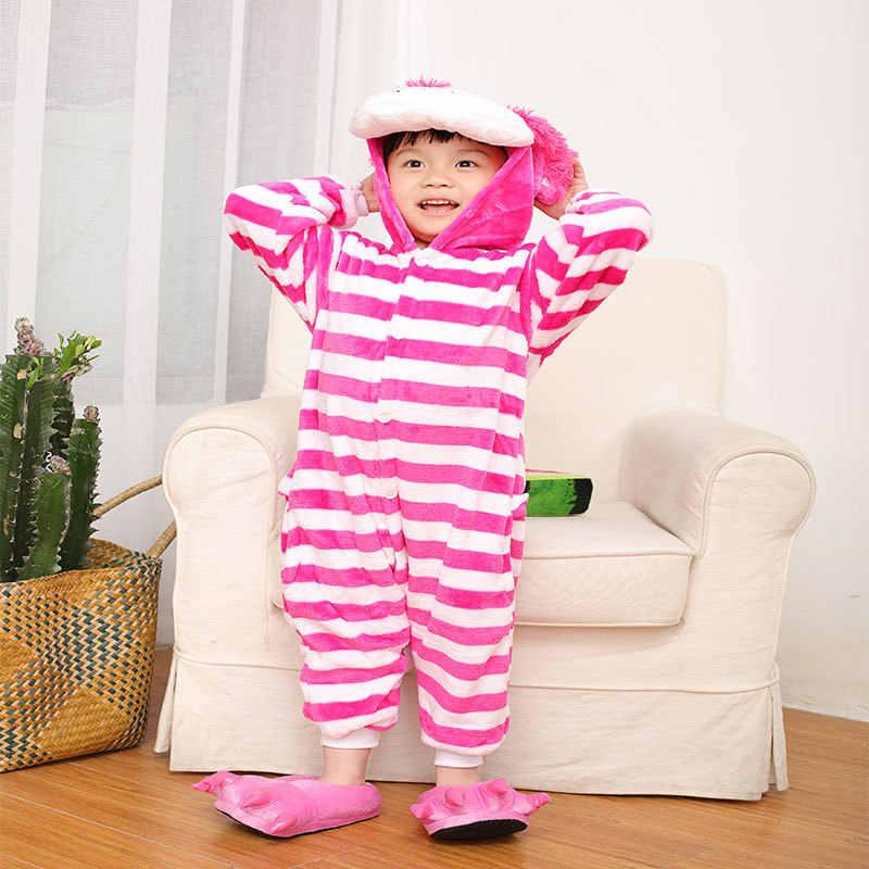NEUE Cheshire Katze Pyjama für Kinder Jungen Mädchen Flanell Mit Kapuze Pyama jongen Einhorn Winter Kinder Nachtwäsche Onesie Cosplay Negligés