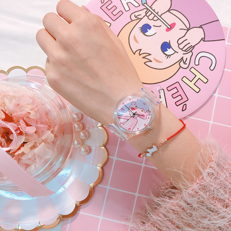Kids' Watch Pink Panther Buckle Silicone Strap Cute Girl's Watch Fashion Transparent Watch Student Watch Girl Ins Style Gift