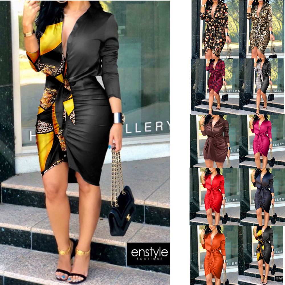 Autumn Formal Print Ruched Dress V neck Tie Solid Color Printing Long...