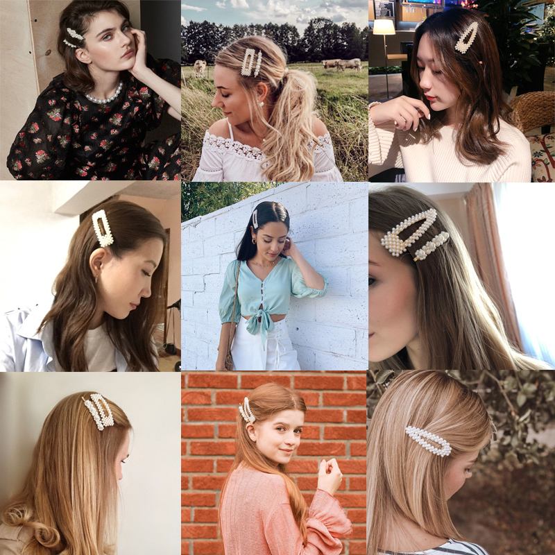 Oaoleer Hair Accessories 1 Set Women Girls Pearls Hair Clips for Hair Ins Fashion Hairpins Barrettes for Girls Headwear in Women 39 s Hair Accessories from Apparel Accessories