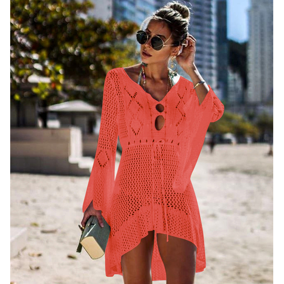 New Knitted Beach Cover Up Women Bikini Swimsuit Cover Up Hollow Out Beach Dress Tassel Tunics Bathing Suits Cover-Ups Beachwear 45