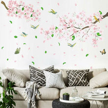 Home Room Decor Large Peach Blossom Flower Butterfly Wall Stickers Art Decal Tree Branch Birds Wall Sticker tree wall decal sticker bedroom tree of life roots birds flying away home decor yoga studiodecor heart shaped branches a7 018