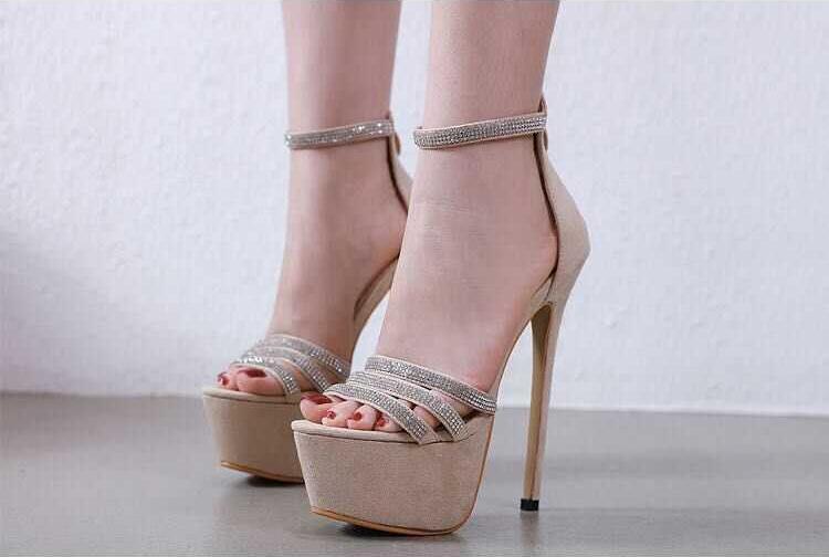 À la mode Zipper talons aiguilles femmes sandales Bling cristal embelli bride à la cheville haute plate forme gladiateur sandales chaussures habillées - 4