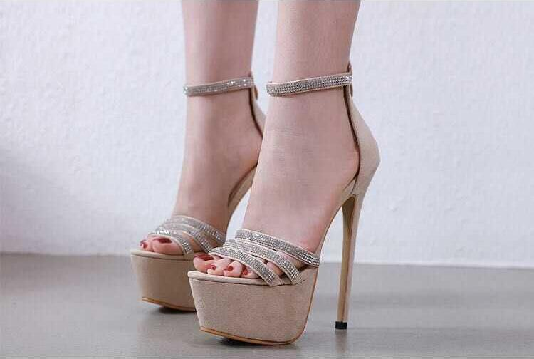 Trendy Zipper Stiletto Heels Frauen Sandalen Bling Kristall Verziert Ankle Strap Hohe Plattform Gladiator Sandalen Kleid Schuhe - 4