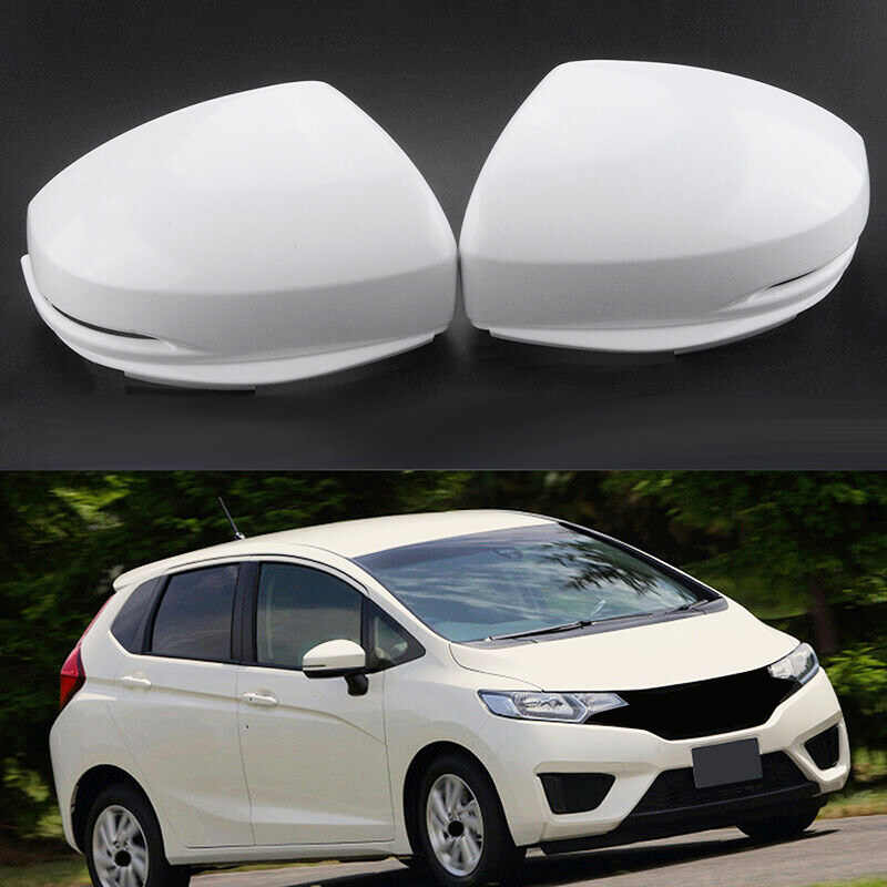 Side Door Mirrors Rearview Stripe Cover Trim 2pcs For Honda FIT JAZZ 2014-2018