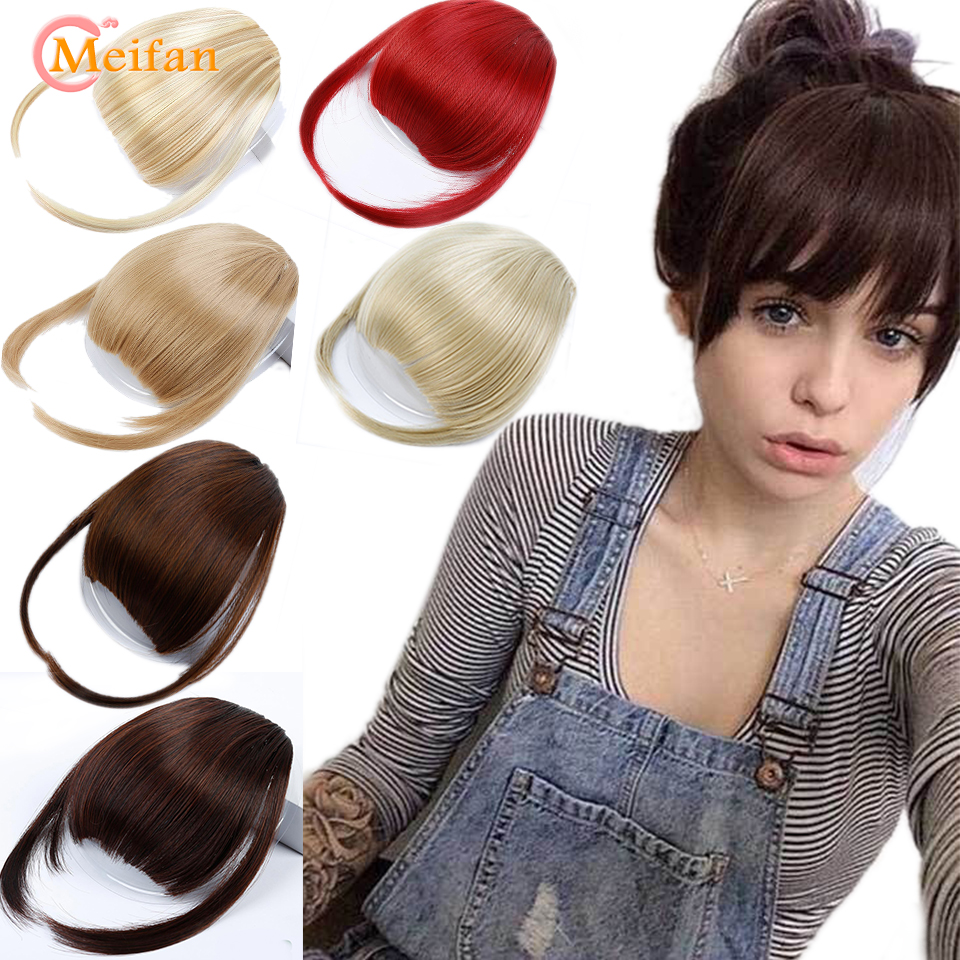 MEIFAN Air Bangs Hair Clip In Extension Fake Fringe Natural False Hairpiece For Women Heat Resistant Synthetic Bangs