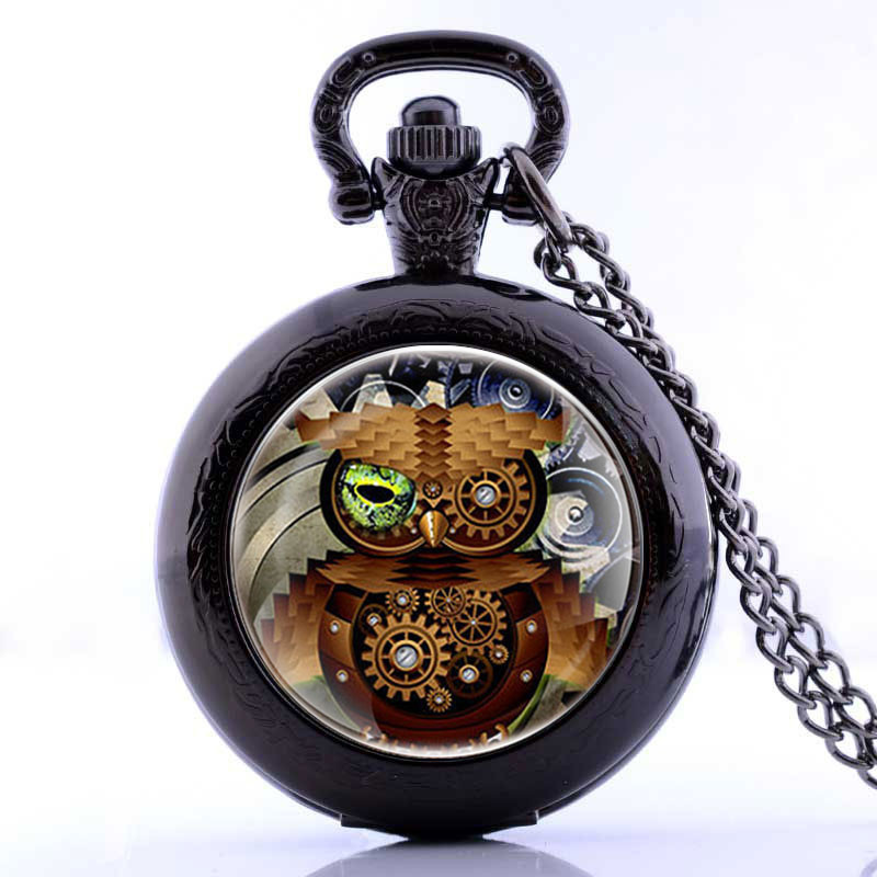 Luxury Gift Set Web Hollow Design Skeleton Black Mechanical Hand Wind Pocket Watch With Box For Men Women Hot