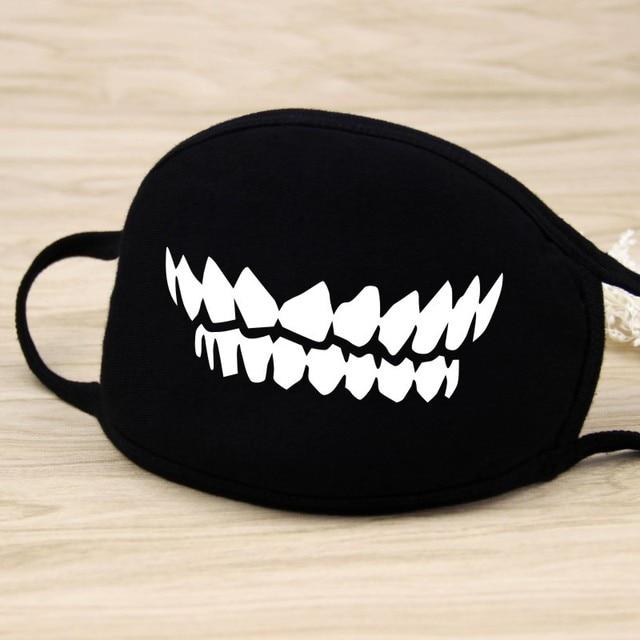 Cycling Outdoor Anti PM 2.5  Mouth Masks Cotton Cartoon Anime Teeth Anti Haze bacteria Flu Face Masks Solid Black D40 3