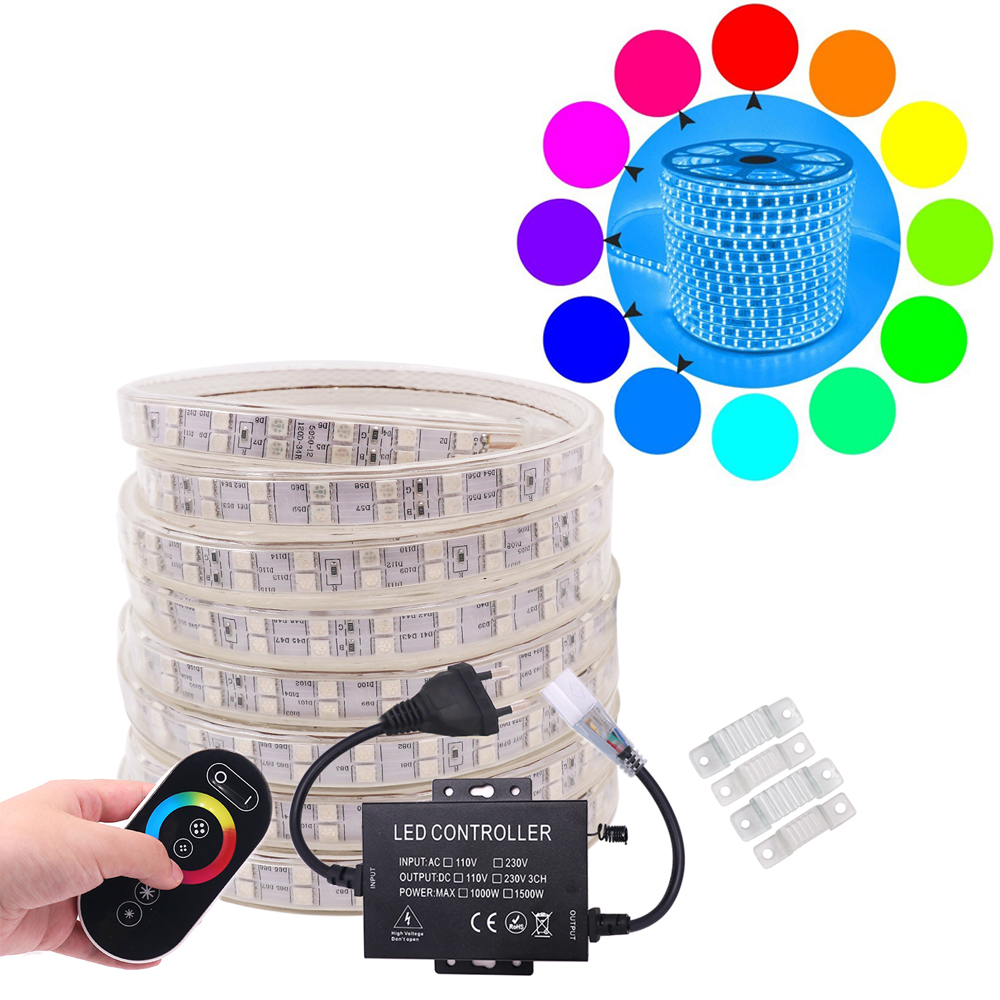 Super Bright 5050 220V RGB LED Strip Light RF Touch Remote Controller 120LED/m Waterproof Double Row Stripes Home Decoration