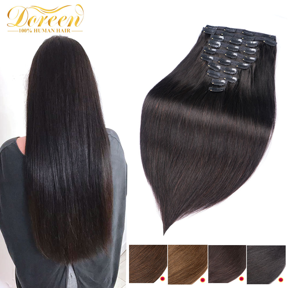 Doreen 160G 200G 240G Brazilian Machine Made Remy Straight Clip In Human Hair Extensions  Full Head Set 10Pcs 16 To 24 Inch DHL